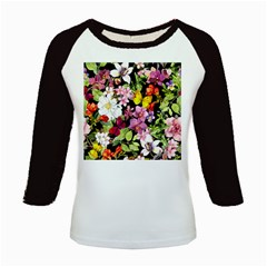 Beautiful,floral,hand painted, flowers,black,background,modern,trendy,girly,retro Kids Baseball Jerseys