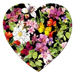 Beautiful,floral,hand painted, flowers,black,background,modern,trendy,girly,retro Jigsaw Puzzle (Heart)