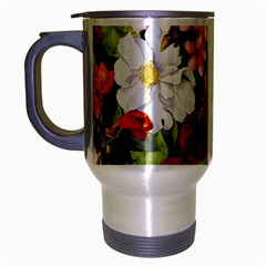 Beautiful,floral,hand painted, flowers,black,background,modern,trendy,girly,retro Travel Mug (Silver Gray)