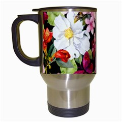 Beautiful,floral,hand painted, flowers,black,background,modern,trendy,girly,retro Travel Mugs (White)