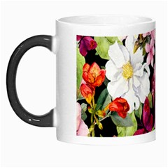 Beautiful,floral,hand painted, flowers,black,background,modern,trendy,girly,retro Morph Mugs