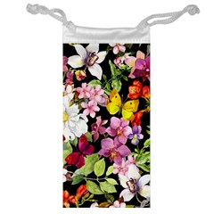 Beautiful,floral,hand painted, flowers,black,background,modern,trendy,girly,retro Jewelry Bag