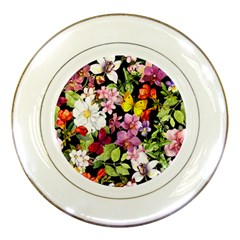 Beautiful,floral,hand painted, flowers,black,background,modern,trendy,girly,retro Porcelain Plates