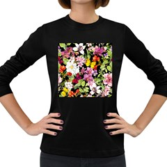 Beautiful,floral,hand painted, flowers,black,background,modern,trendy,girly,retro Women s Long Sleeve Dark T-Shirts