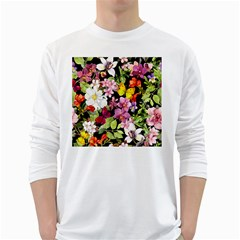 Beautiful,floral,hand painted, flowers,black,background,modern,trendy,girly,retro White Long Sleeve T-Shirts