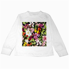 Beautiful,floral,hand painted, flowers,black,background,modern,trendy,girly,retro Kids Long Sleeve T-Shirts