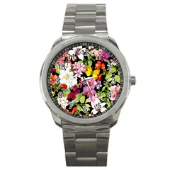 Beautiful,floral,hand painted, flowers,black,background,modern,trendy,girly,retro Sport Metal Watch