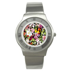 Beautiful,floral,hand painted, flowers,black,background,modern,trendy,girly,retro Stainless Steel Watch