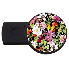 Beautiful,floral,hand painted, flowers,black,background,modern,trendy,girly,retro USB Flash Drive Round (4 GB)
