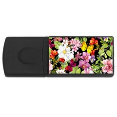 Beautiful,floral,hand painted, flowers,black,background,modern,trendy,girly,retro Rectangular USB Flash Drive