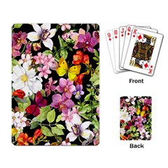 Beautiful,floral,hand painted, flowers,black,background,modern,trendy,girly,retro Playing Card