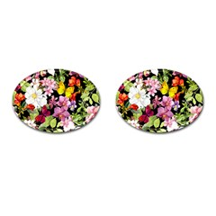 Beautiful,floral,hand painted, flowers,black,background,modern,trendy,girly,retro Cufflinks (Oval)