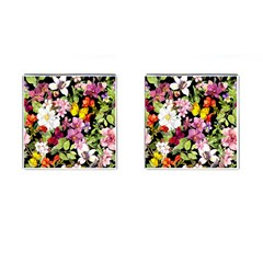 Beautiful,floral,hand painted, flowers,black,background,modern,trendy,girly,retro Cufflinks (Square)