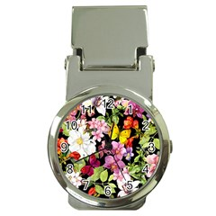 Beautiful,floral,hand painted, flowers,black,background,modern,trendy,girly,retro Money Clip Watches