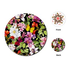 Beautiful,floral,hand painted, flowers,black,background,modern,trendy,girly,retro Playing Cards (Round)