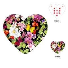Beautiful,floral,hand painted, flowers,black,background,modern,trendy,girly,retro Playing Cards (Heart)