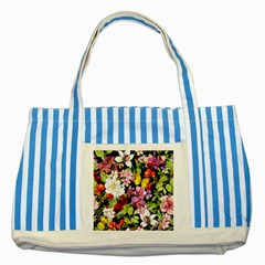 Beautiful,floral,hand painted, flowers,black,background,modern,trendy,girly,retro Striped Blue Tote Bag
