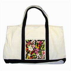 Beautiful,floral,hand painted, flowers,black,background,modern,trendy,girly,retro Two Tone Tote Bag