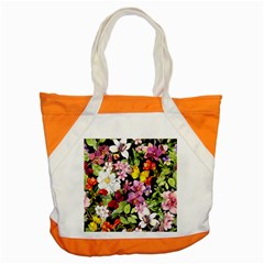 Beautiful,floral,hand painted, flowers,black,background,modern,trendy,girly,retro Accent Tote Bag