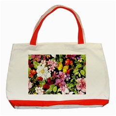 Beautiful,floral,hand painted, flowers,black,background,modern,trendy,girly,retro Classic Tote Bag (Red)