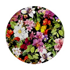 Beautiful,floral,hand painted, flowers,black,background,modern,trendy,girly,retro Round Ornament (Two Sides)