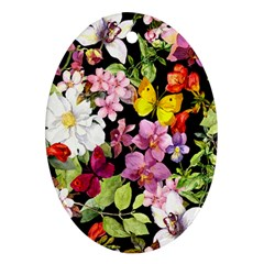 Beautiful,floral,hand painted, flowers,black,background,modern,trendy,girly,retro Oval Ornament (Two Sides)