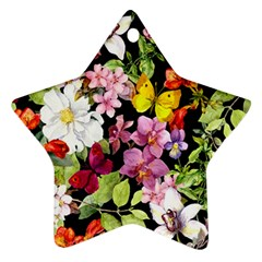 Beautiful,floral,hand painted, flowers,black,background,modern,trendy,girly,retro Star Ornament (Two Sides)