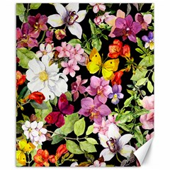 Beautiful,floral,hand painted, flowers,black,background,modern,trendy,girly,retro Canvas 8  x 10