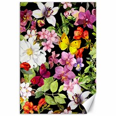 Beautiful,floral,hand painted, flowers,black,background,modern,trendy,girly,retro Canvas 12  x 18