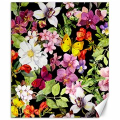 Beautiful,floral,hand painted, flowers,black,background,modern,trendy,girly,retro Canvas 20  x 24