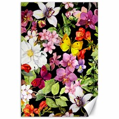 Beautiful,floral,hand painted, flowers,black,background,modern,trendy,girly,retro Canvas 24  x 36
