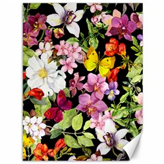 Beautiful,floral,hand painted, flowers,black,background,modern,trendy,girly,retro Canvas 36  x 48