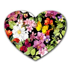 Beautiful,floral,hand painted, flowers,black,background,modern,trendy,girly,retro Heart Mousepads