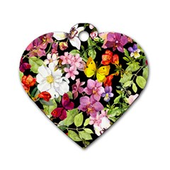 Beautiful,floral,hand painted, flowers,black,background,modern,trendy,girly,retro Dog Tag Heart (Two Sides)