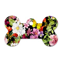 Beautiful,floral,hand painted, flowers,black,background,modern,trendy,girly,retro Dog Tag Bone (Two Sides)
