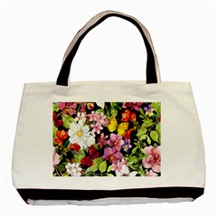 Beautiful,floral,hand painted, flowers,black,background,modern,trendy,girly,retro Basic Tote Bag (Two Sides)