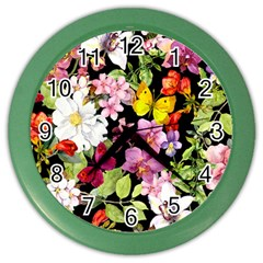 Beautiful,floral,hand painted, flowers,black,background,modern,trendy,girly,retro Color Wall Clocks