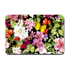 Beautiful,floral,hand painted, flowers,black,background,modern,trendy,girly,retro Small Doormat