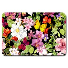 Beautiful,floral,hand painted, flowers,black,background,modern,trendy,girly,retro Large Doormat