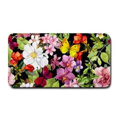Beautiful,floral,hand painted, flowers,black,background,modern,trendy,girly,retro Medium Bar Mats
