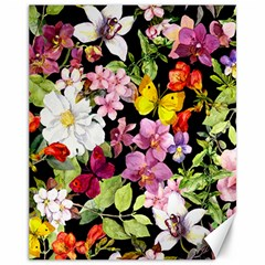 Beautiful,floral,hand painted, flowers,black,background,modern,trendy,girly,retro Canvas 11  x 14