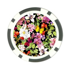 Beautiful,floral,hand painted, flowers,black,background,modern,trendy,girly,retro Poker Chip Card Guard