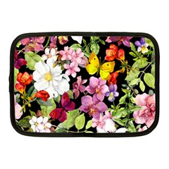 Beautiful,floral,hand painted, flowers,black,background,modern,trendy,girly,retro Netbook Case (Medium)