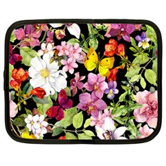 Beautiful,floral,hand painted, flowers,black,background,modern,trendy,girly,retro Netbook Case (Large)