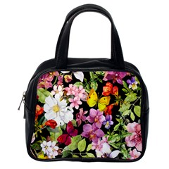 Beautiful,floral,hand painted, flowers,black,background,modern,trendy,girly,retro Classic Handbags (One Side)