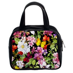 Beautiful,floral,hand painted, flowers,black,background,modern,trendy,girly,retro Classic Handbags (2 Sides)