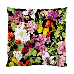 Beautiful,floral,hand painted, flowers,black,background,modern,trendy,girly,retro Standard Cushion Case (Two Sides)