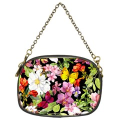 Beautiful,floral,hand painted, flowers,black,background,modern,trendy,girly,retro Chain Purses (Two Sides)