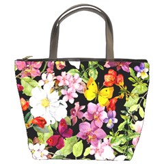 Beautiful,floral,hand painted, flowers,black,background,modern,trendy,girly,retro Bucket Bags
