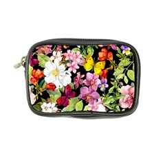 Beautiful,floral,hand painted, flowers,black,background,modern,trendy,girly,retro Coin Purse